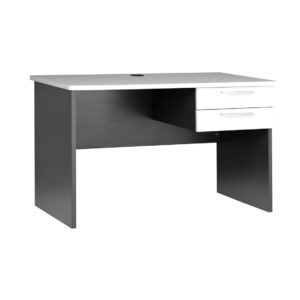 Straight Desk - White Top. - Ironstone Slab End 1200w x 600d x 730h. Built In Drawers.