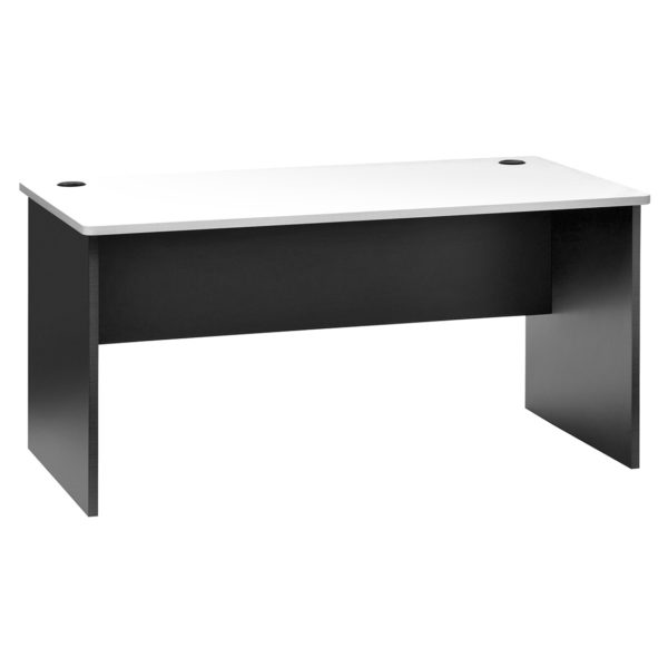 Straight Desk - White Top - Ironstone Slab End 1500w x 750d x 730h
